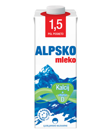 Alpsko mleko with 1,5 % milk fat with added calcium (Ca)