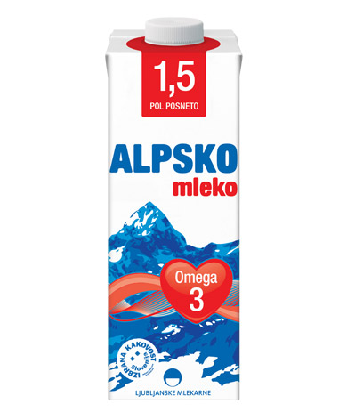 Alpsko mleko with 1,5 % milk fat with added ω-3 fatty acids