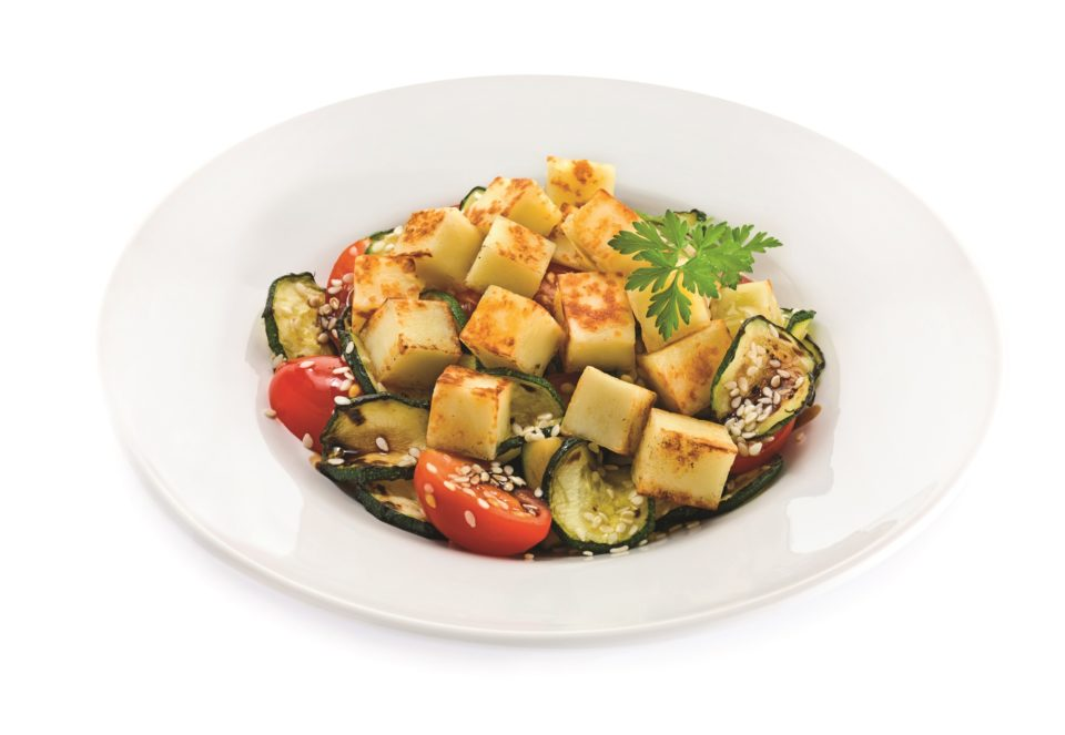 Mixed salad with cheese for grill and sesame