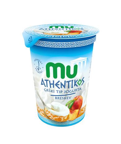 Mu Athentikos jogurt s podloženim sadjem; breskev