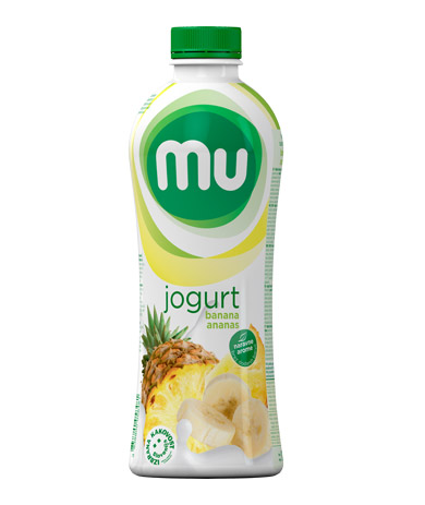 Mu fruit yoghurt banana, pineapple; plastic bottle