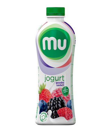 Mu fruit yoghurt forest fruits; plastic bottle