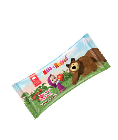 Masha and the Bear strawberry ice-cream with cocoa coating