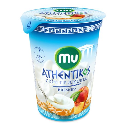 Mu Athentikos yoghurt with fruit at the bottom; peach