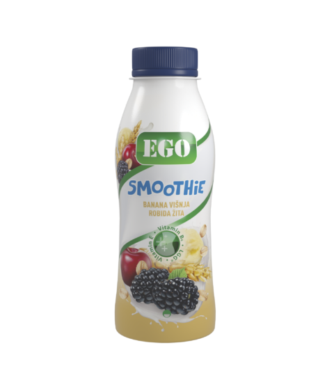 Ego Smoothie, banana, cherry, blackberry, barley, oats