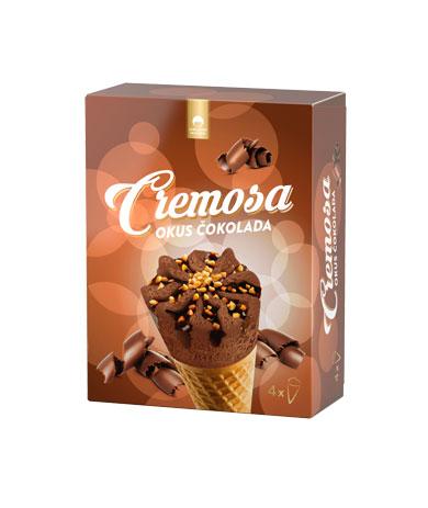 Cremosa sladoled z okusom čokolade, kakavovim oblivom in karameliziranimi lešniki